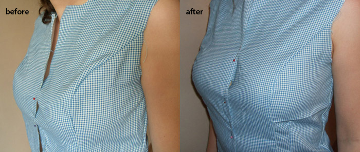 how to lower or raise bust line on a pattern, pattern alteration, princess seam