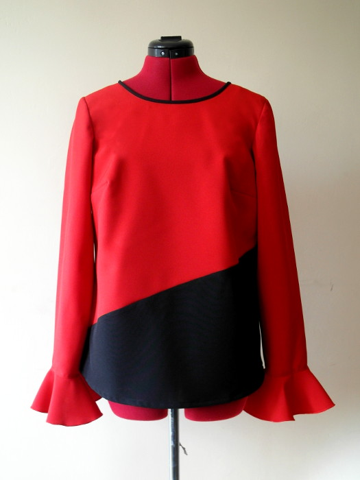 Red & black blouse, stilt walker costume, frills on sleeves,