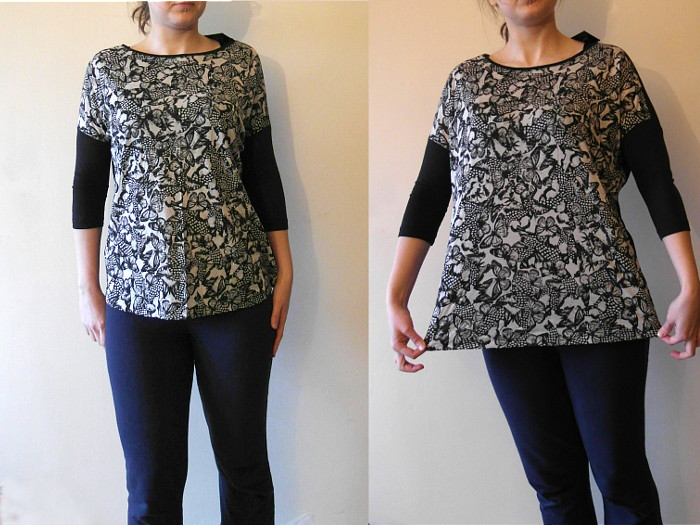 Bat sleeve blouse modification, waterfall neckline blouse, DIY, sewing blog