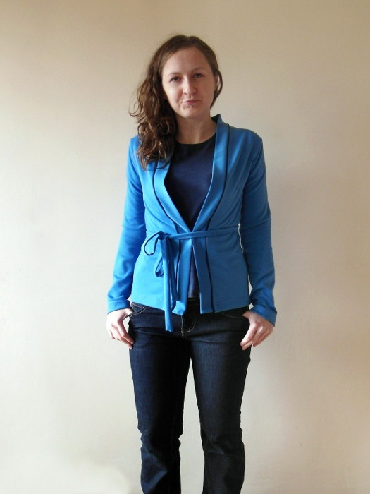 Blue belted sweater, handmade, sewing