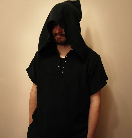 Black shirt with big, pointed hood, sewing, handmade clothes, costume