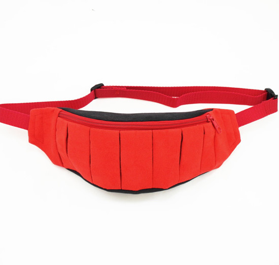 Red fanny pack with box pleats, festival bag sewing pattern and tutorial, how to sew a hip bag