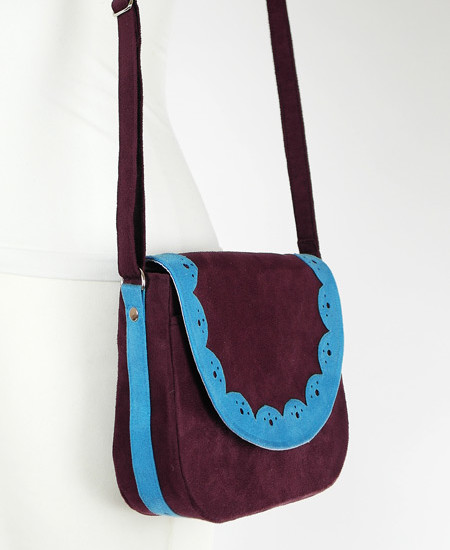 Purple bag with blue scalloped edge,Vilene Decovil interfacing